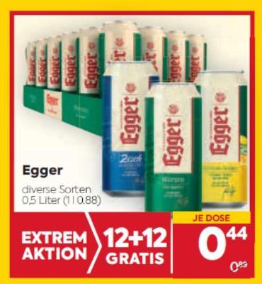 Egger Bier in diversen Sorten um € 0,44