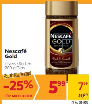 Nescafé Gold in diversen Sorten um € 7,99