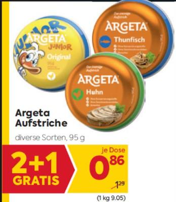Argeta Aufstriche in diversen Sorten um € 0,86