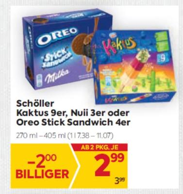 Schöller Kaktus 9er, Nuii 3er oder Oreo Stick Sandwich 4er um € 2,99