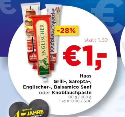 Haas Grill-, Sarepta-, Englischer-, Balsamico Senf oder Knoblauchpaste