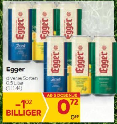 Egger Bier in diversen Sorten um € 0,72