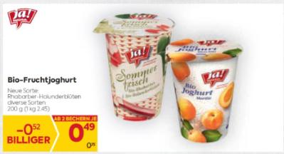 Ja Natürlich Bio-Fruchtjoghurt in diversen Sorten um € 0,49