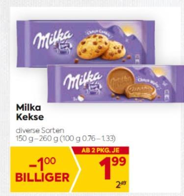 Milka Kekse in diversen Sorten um € 1,99