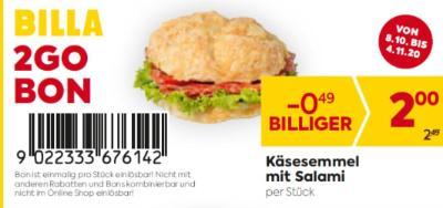 Billa 2GO Bon: Käsesemmel mit Salami um € 0,49 billiger.