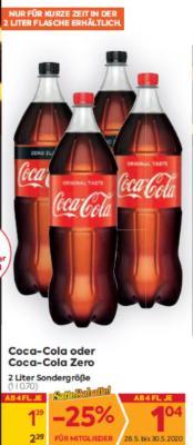 Coca-Cola oder Coca-Cola Zero in 2 L Sondergröße um € 1,39