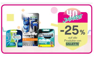 -25% auf alle Produkte von GILLETTE