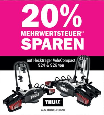 20 % Mehrwertsteuer sparen auf Heckträger VeloCompact 924 & 926 von Thule