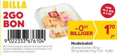 Billa 2GO Bon: Nudelsalat in diversen Sorten um € 0,49 billiger.