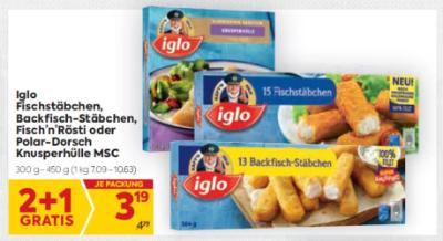 Iglo Fischstäbchen, Backfisch-Stäbchen, Fisch'n'Rösti oder Polardorsch Knusperhülle MSC um € 3,19