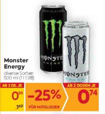 Monster Energy in diversen Sorten um € 0,99