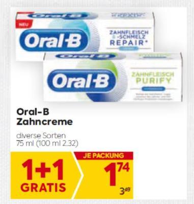 Oral-B Zahncreme in diversen Sorten um € 1,74