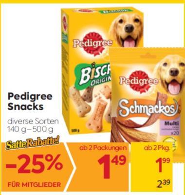 Pedigree Snacks in diversen Sorten um € 1,99