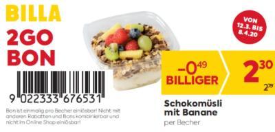 Billa 2GO Bon: Schokomüsli mit Banane um € 0,49 billiger.