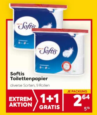 Softis Toilettenpapier in diversen Sorten um € 2,64