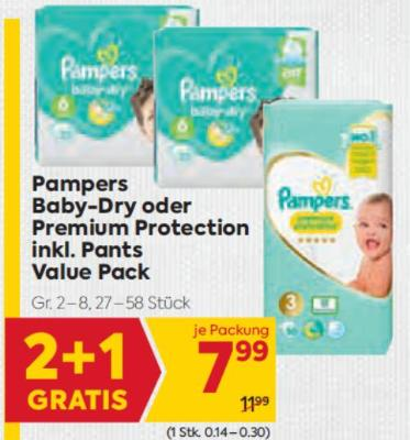 Pampers Baby-Dry oder Premium Protection inkl. Pants Value Pack um € 7,99