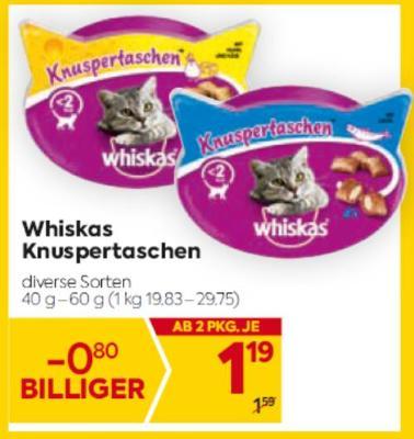 Whiskas Knuspertaschen in diversen Sorten um € 1,19