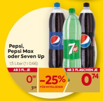 Pepsi, Pepsi Max oder Seven Up um € 0,99