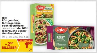 Iglo Röstgemüse, Buttergemüse oder Ideenküche, diverse Sorten oder NEU: Ideenküche Bunter Gemüsereismix um € 1,99