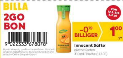 Billa 2GO Bon: Innocent Säfte in diversen Sorten um € 0,79 billiger.