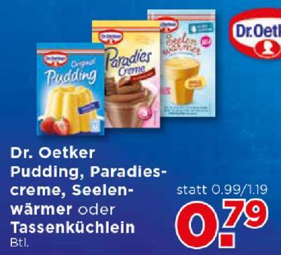 Dr. Oetker Pudding, Paradies creme, Seelenwärmer oder Tassenküchlein