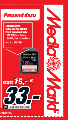 Sandisk SDXC Extreme Pro 128 GB Profi Speicherkarte