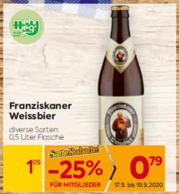 Franziskaner Weissbier in diversen Sorten um € 1,05