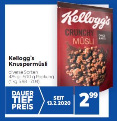 Kellogg's Knuspermüsli in diversen Sorten um € 2,99