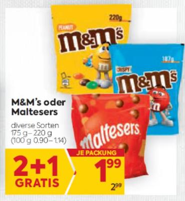 M&M's oder Maltesers in diversen Sorten um € 1,99
