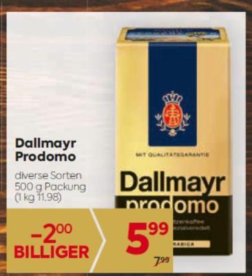 Dallmayr Prodomo in diversen Sorten um € 5,99