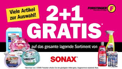 2+1 Gratis auf das gesamte lagernde Sortiment von SONAX