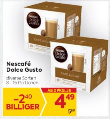Nescafé Dolce Gusto in diversen Sorten um € 4,49