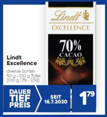 Lindt Excellence in diversen Sorten um € 1,79