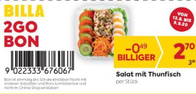 Billa 2GO Bon: Salat mit Thunfisch um € 0,49 billiger