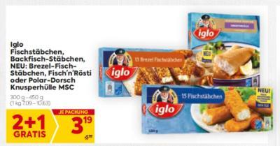 Iglo Fischstäbchen, Backfisch-Stäbchen, NEU: Brezel-Fisch-Stäbchen, Fisch'n'Rösti oder Polar-Dorsch Knusperhülle MSC um € 3,19