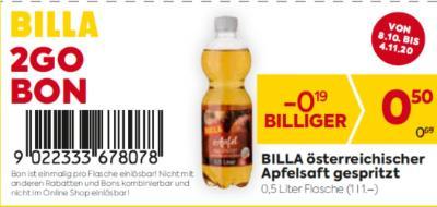 Billa 2GO Bon: BILLA österreichischer Apfelsaft gespritzt um € 0,19 billiger.