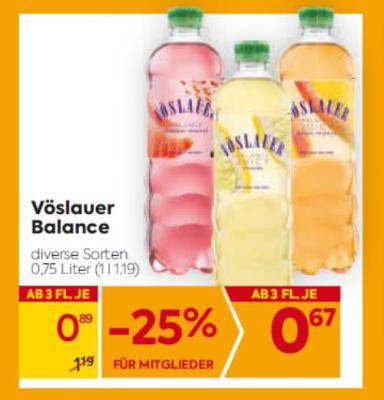 Vöslauer Balance in diversen Sorten um € 0,89