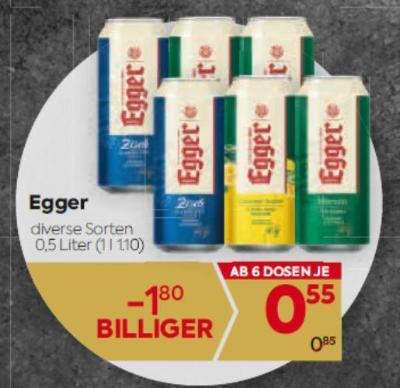 Egger Bier in diversen Sorten um € 0,55