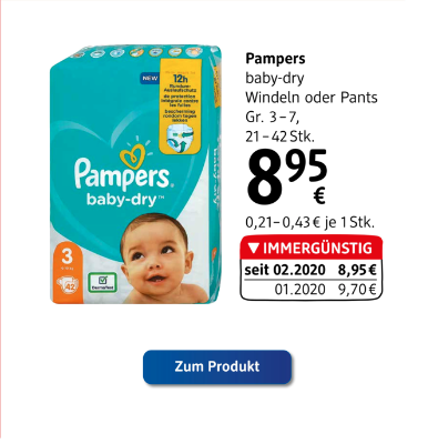Pampers baby-dry Windeln oder Pants um € 8,95