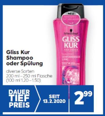 Gliss Kur Shampoo oder Spülung in diversen Sorten um € 2,99