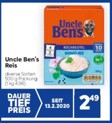 Uncle Ben's Reis in diversen Sorten um € 2,49