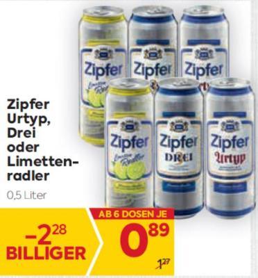 Zipfer Urtyp, Drei oder Limettenradler um € 0,89