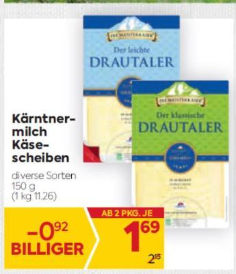 Kärntnermilch Käsescheiben in diversen Sorten um € 1,69