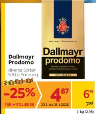 Dallmayr Prodomo in diversen Sorten um € 6,49