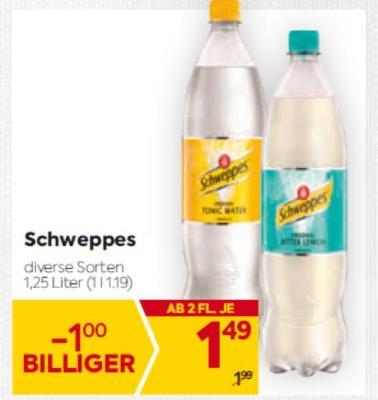 Schweppes Limonade in diversen Sorten um € 1,49