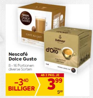 Nescafé Dolce Gusto in diversen Sorten um € 3,99