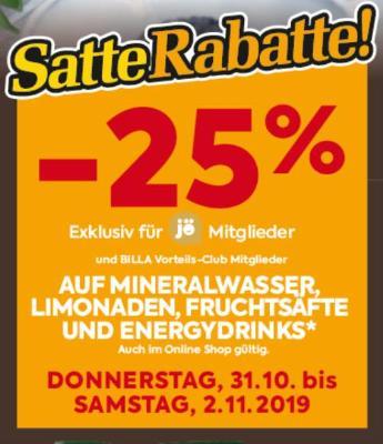 -25% auf Mineralwasser, Limonaden, Fruchtsäfte und Energydrinks!