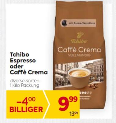 Tchibo Espresso oder Caffe Crema in diversen Sorten um € 9,99
