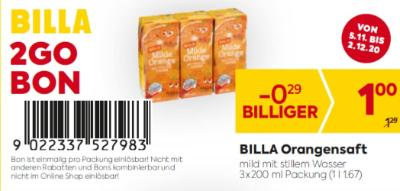 Billa 2GO Bon: Billa Orangensaft um € 0,29 billiger.