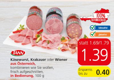 Tann Käsewurst, Krakauer oder Wiener um € 1,39